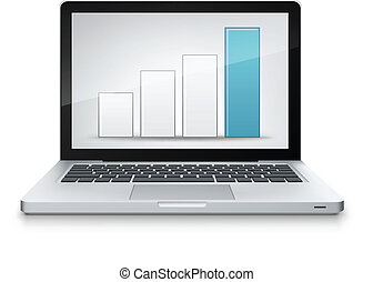 Statistics Concept Laptop on Grey Gradient Background Vector...