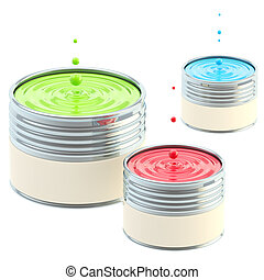 RGB colored buckets of paint isolated