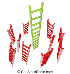 Red and green glossy ladder isolated - Growth and leader...