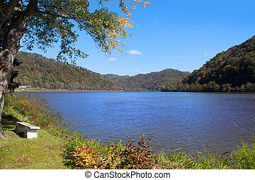 Scenic lake in West Virginia early mornig time