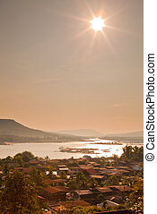 town and river - Scenic view on town and Mekong river in...