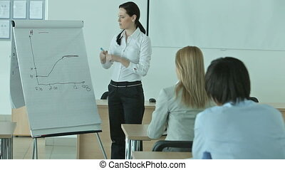 Presenter - Business woman presenting financial schemes to...