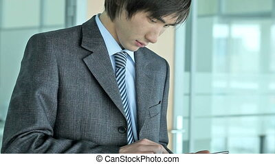 Searching for business solution - Close-up of a serious...