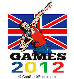 Games 2012 Shot Put Throw British Flag