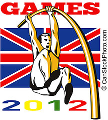Games 2012 Pole Vault Track and Field British Flag