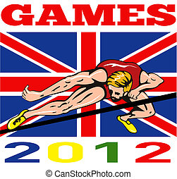 Games 2012 High Jump Track and Field British Flag