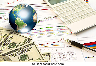 Pen and business graph with earth (Elements of this image...