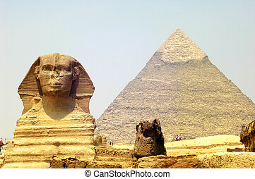 Sphinx and Pyramid Giza - Sphinx in front of Pyramid Giza at...