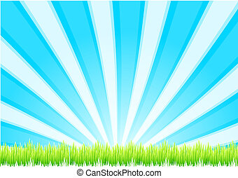 Grass background - Nature vector background Fresh green...