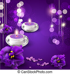 background with romantic candles and violets on purple ba -...