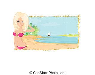 Summer sexy beach girl