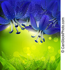 romantic background with blue flowers on a green background
