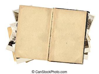 Old book and photos for scrapbooking design Isolated over...