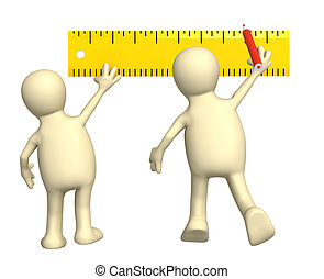 Puppets with ruler - 3d puppets with ruler. Isolated over...