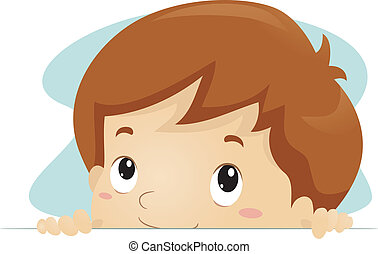 Peeking Kid - Illustration of a Kid Taking a Peek
