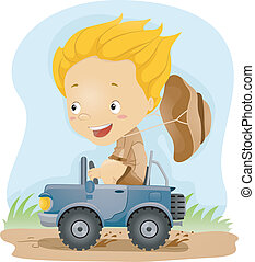 Jeep Rider - Illustration of a Kid Driving a Small Jeep