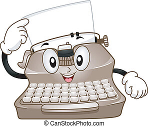 Typewriter Mascot - Mascot Illustration Featuring a...