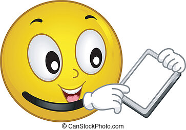 Techie Smiley - Illustration of a Smiley Using a Tablet PC