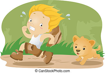 Kid Being Chased by a Lion Cub - Illustration of a Kid Kid...