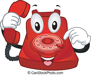 Telephone Mascot - Mascot Illustration Featuring a Rotary...