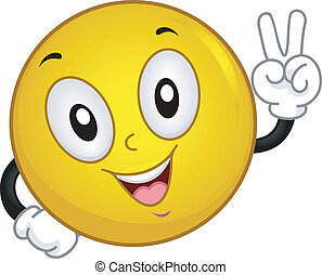 Smiley Peace Sign - Illustration of a Smiley Making a Peace...