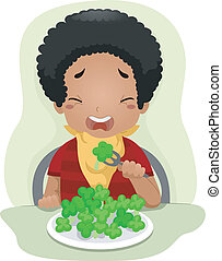 Vegetable-hating Kid - Illustration of a Kid Eating...