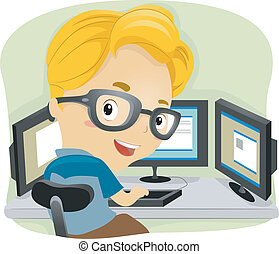 Techie Kid - Illustration of a Kid Using Multiple Monitors