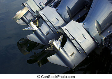 Outboard Boat Engines - Three outboard boat motors