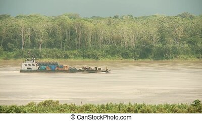 Bulk Carrier On Amazon River