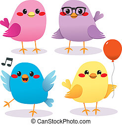 Colorful Bird Party - Four cute and colorful beautiful...