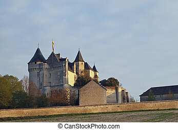 Motte castle at sunrise, Usseau , France. - In the XVth...