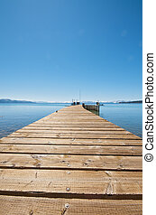 Wooden Pier Path at Lake - Pier at a vacation resort in Lake...