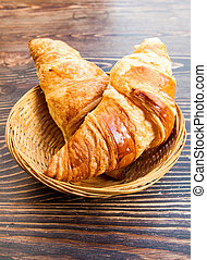 fresh croissant on table ,Delicious