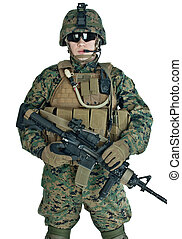 US soldier with his assault rifle on white background