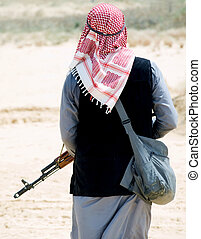 rebel - Muslim rebel with rifle