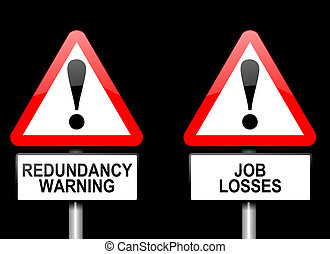 Job losses concept - Illustration depicting two triangular...
