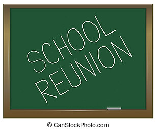 School reunion concept. - Illustration depicting a green...
