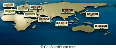 World Time Zone Map - A map with the world time zone