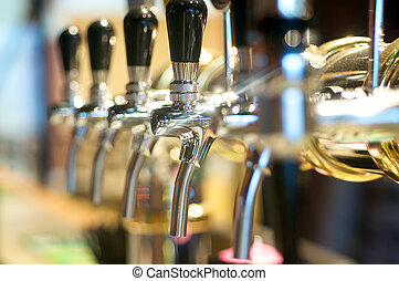 Beer Taps - Beer taps in a row