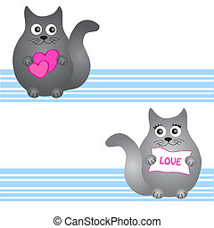 nice card black cat vector