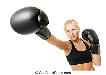boxer woman with black boxing gloves - boxer woman during...