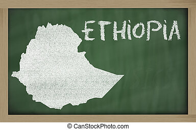 outline map of ethiopia on blackboard - drawing of ethiopia...