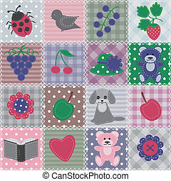 patchwork background with objects - patchwork background...