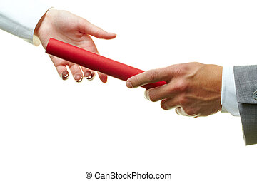 Competitors - Image of female and male hands holding red...