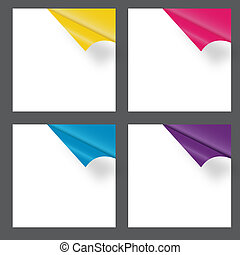 Set of gift cards with rolled corners. vector illustration