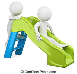 3D children - Slide. Rendered at high resolution on a white...