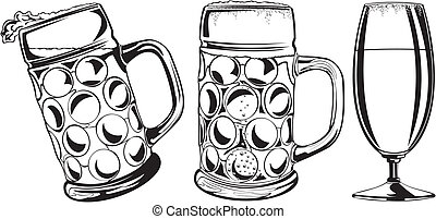 beer mug and glass - mug of beer, beer glass, beer icon