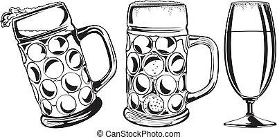 beer mug and glass  - mug of beer, beer glass, beer icon