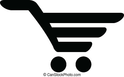 Vector black icon of shopping cart