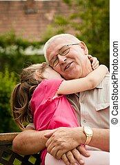 amor, -, abuelo, nieto, retrato